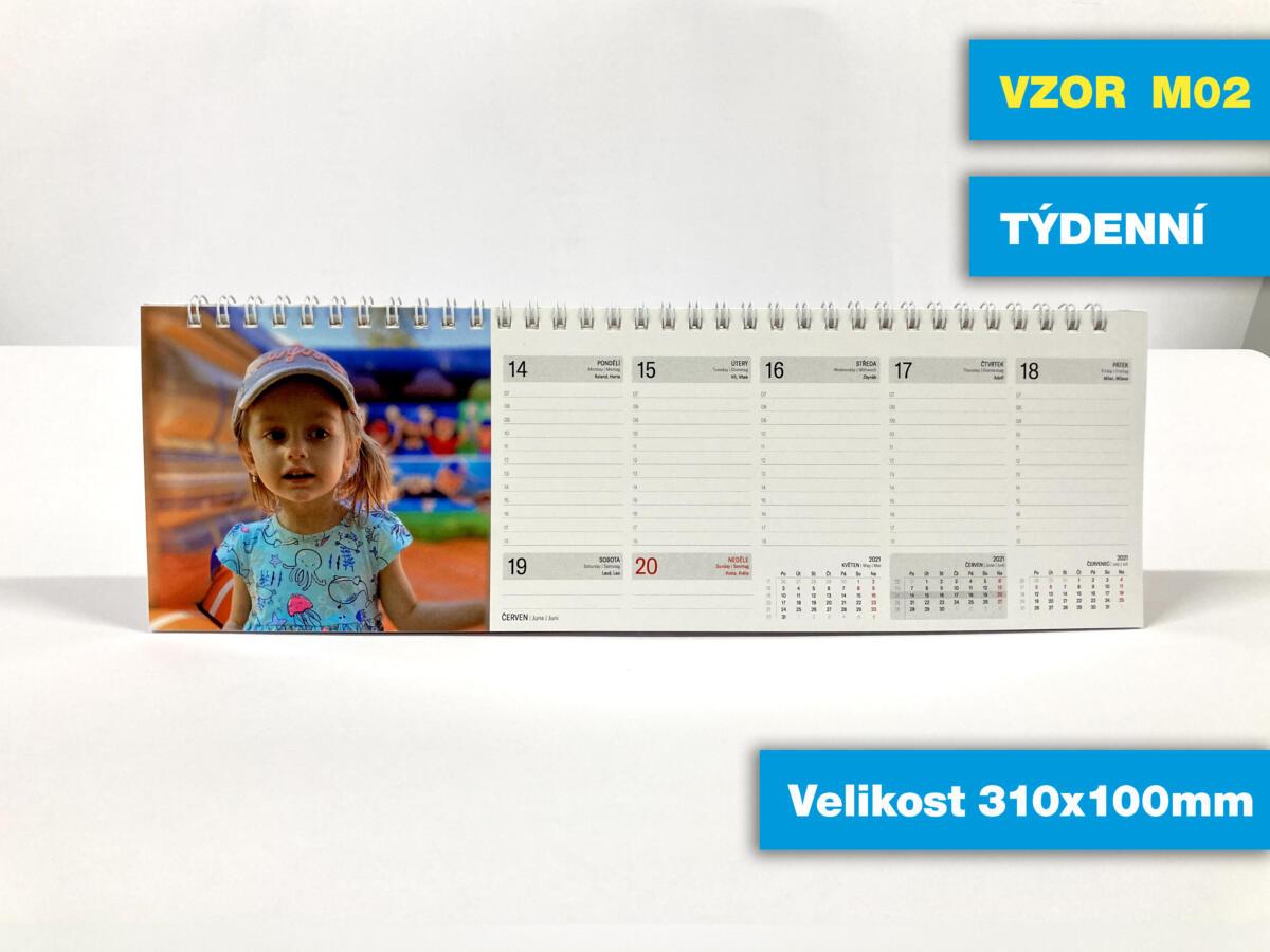 VZOR M02 - Stolní velikosti 310x100mm týdenní