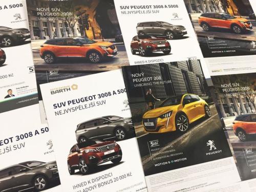 Letáky A5 Peugeot 208 a 2008Tisknout letáky pro mého dlouholetého klienta Autocentrum BARTH a.s.. Použita saturace barev CHROMA.