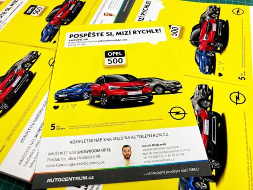 Letáky Opel 500 A5 pro Autocentrum Pardubice
