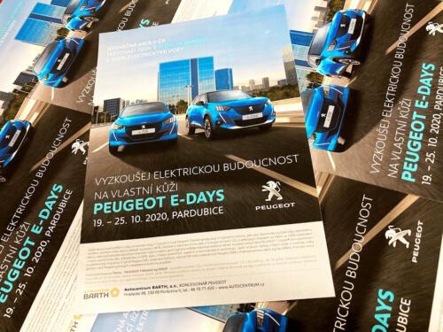 Peugeot E-DAYS Leták A5 pro Autocentrum BARTH