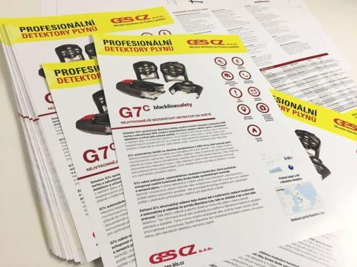 Letáky A4 G7 Profesionální detektory plynůTisk letáků, včetně grafických prací. Pro klienta GES CZ Detektory plynů. Použita saturace barev CHROMA.